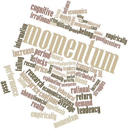 momentum: Abstract word cloud for Momentum with related tags and terms Stock Photo