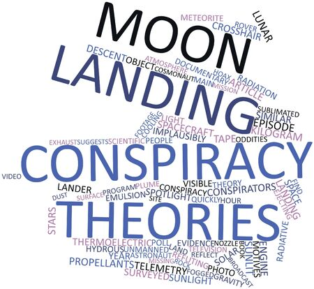 Abstract word cloud for Moon landing conspiracy theories with related tags and terms Stock Photo - 16528308
