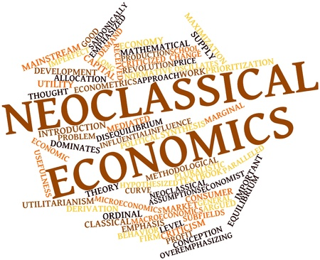 prioritization: Abstract word cloud for Neoclassical economics with related tags and terms