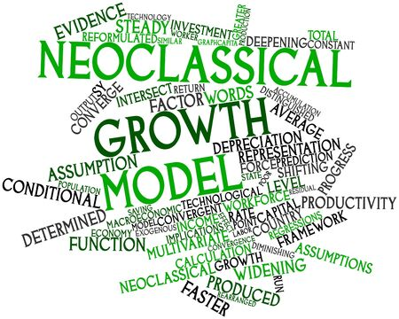 Nube de palabras abstracto para el modelo de crecimiento neoclásico con las etiquetas y términos relacionados Foto de archivo - 16529723