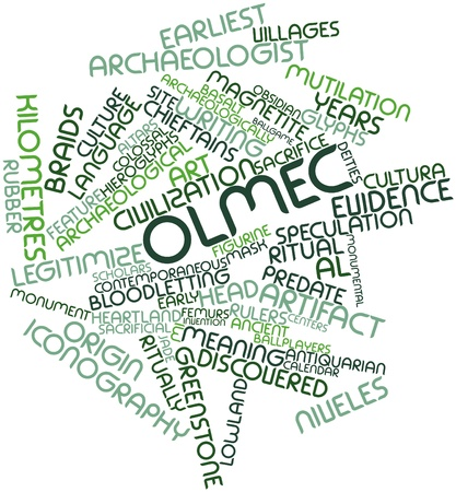 Abstract word cloud for Olmec with related tags and terms Stock Photo - 16529655