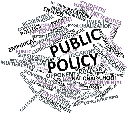 promulgated: Abstract word cloud for Public policy with related tags and terms Stock Photo