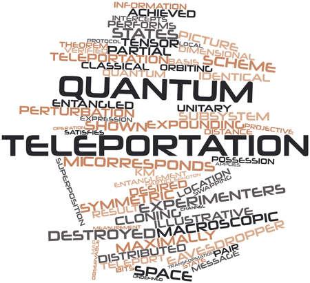 quantum: Abstract woordwolk voor Quantum teleportatie met gerelateerde tags en voorwaarden
