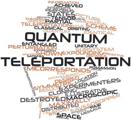 superposition: Abstract word cloud for Quantum teleportation with related tags and terms