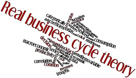 Abstract word cloud for Real business cycle theory with related tags and terms Stock Photo
