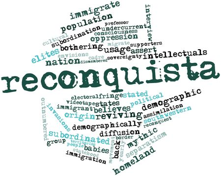 preceded: Abstract word cloud for Reconquista with related tags and terms Stock Photo