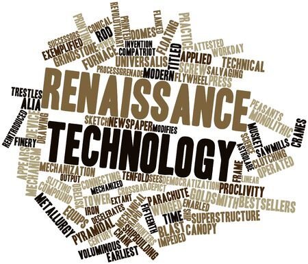 compatriot: Abstract word cloud for Renaissance technology with related tags and terms Stock Photo