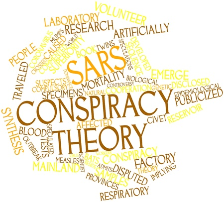 mumps: Abstract word cloud for SARS conspiracy theory with related tags and terms Stock Photo