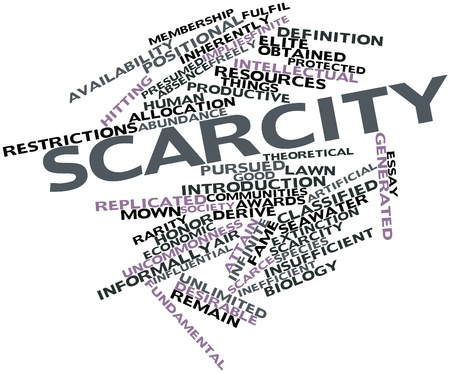 obtained: Abstract word cloud for Scarcity with related tags and terms Stock Photo