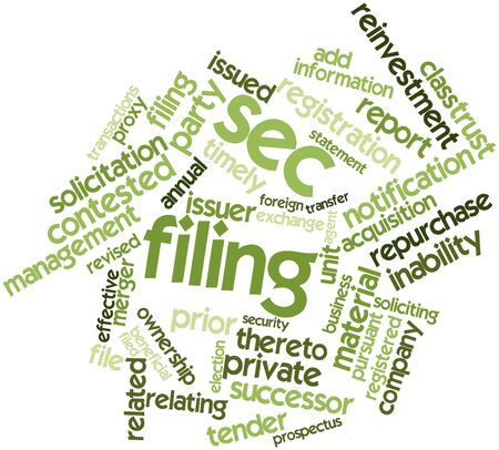 Abstract word cloud for SEC filing with related tags and terms Stock Photo - 16527722
