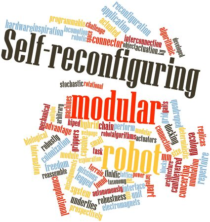 docking: Abstract word cloud for Self-reconfiguring modular robot with related tags and terms Stock Photo