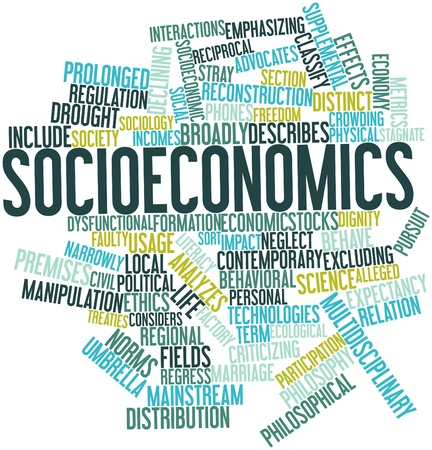 Abstract word cloud for Socioeconomics with related tags and terms photo