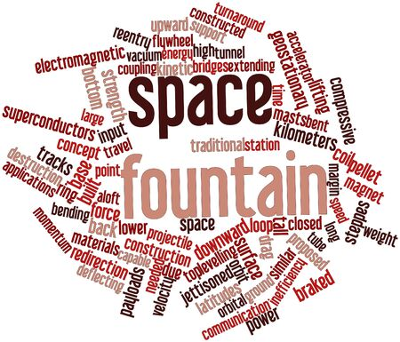 orbital station: Abstract word cloud for Space fountain with related tags and terms