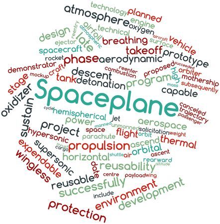 oxygen transport: Abstract word cloud for Spaceplane with related tags and terms Stock Photo