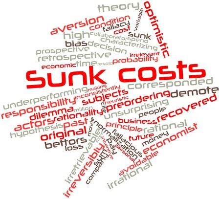 economist: Abstract word cloud for Sunk costs with related tags and terms Stock Photo