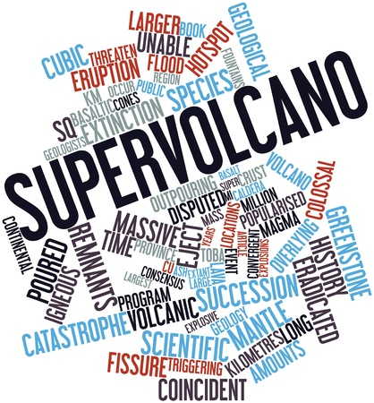 Abstract word cloud for Supervolcano with related tags and terms photo