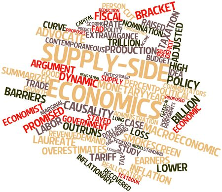 adjusted: Abstract word cloud for Supply-side economics with related tags and terms Stock Photo