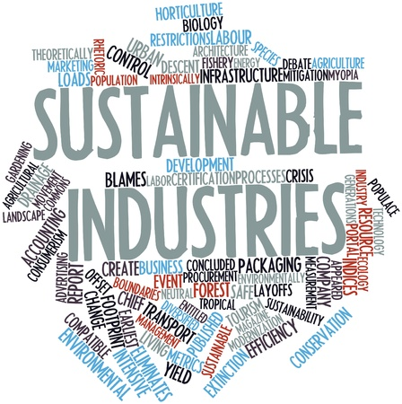 modernization: Abstract word cloud for Sustainable industries with related tags and terms