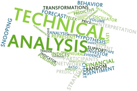 widely: Abstract word cloud for Technical analysis with related tags and terms Stock Photo