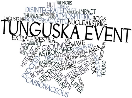 thunderclap: Abstract word cloud for Tunguska event with related tags and terms