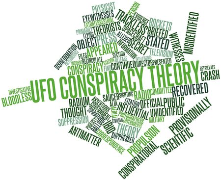 Abstract word cloud for UFO conspiracy theory with related tags and terms Stock Photo - 16529856