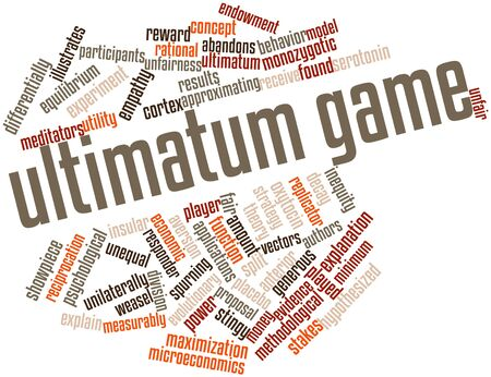 word game: Abstract word cloud for Ultimatum game with related tags and terms Stock Photo
