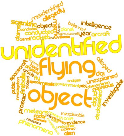 alleged: Abstract word cloud for Unidentified flying object with related tags and terms Stock Photo