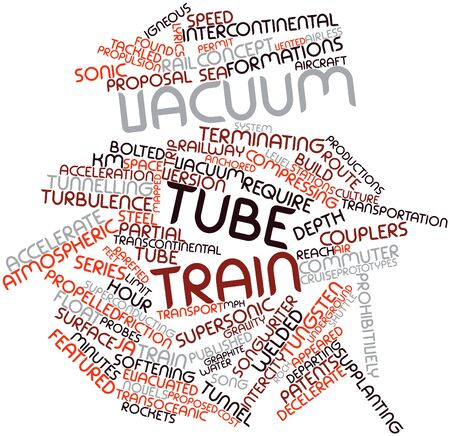 prototypes: Abstract word cloud for Vacuum tube train with related tags and terms Stock Photo