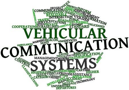 time specification: Abstract word cloud for Vehicular communication systems with related tags and terms Stock Photo