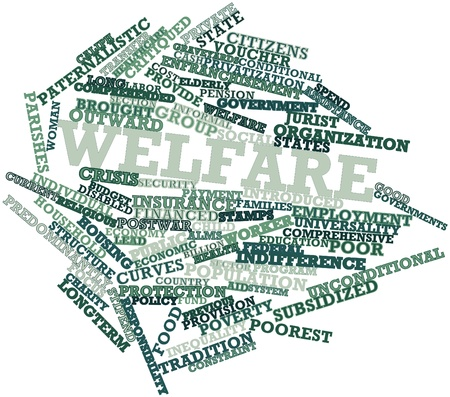 labor policy: Abstract word cloud for Welfare with related tags and terms