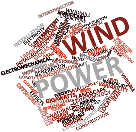 Abstract word cloud for Wind power with related tags and terms Stock Photo - 16530760