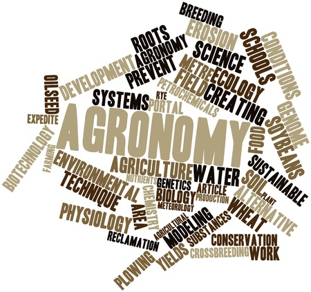 yields: Abstract word cloud for Agronomy with related tags and terms Stock Photo