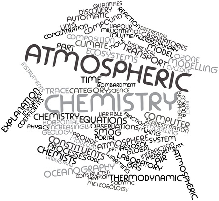 mol: Abstract word cloud for Atmospheric chemistry with related tags and terms Stock Photo