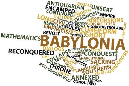 avenger: Nube palabra abstracta para Babilonia con etiquetas y términos relacionados Foto de archivo