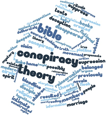 resulted: Abstract word cloud for Bible conspiracy theory with related tags and terms Stock Photo
