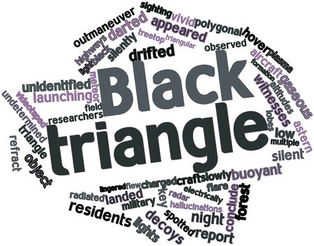 enormous: Abstract word cloud for Black triangle with related tags and terms Stock Photo