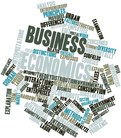 Abstract word cloud for Business economics with related tags and terms