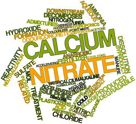 insoluble: Abstract word cloud for Calcium nitrate with related tags and terms Stock Photo