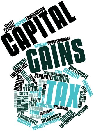 halved: Abstract word cloud for Capital gains tax with related tags and terms Stock Photo