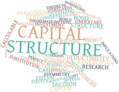 optimal: Abstract word cloud for Capital structure with related tags and terms Stock Photo
