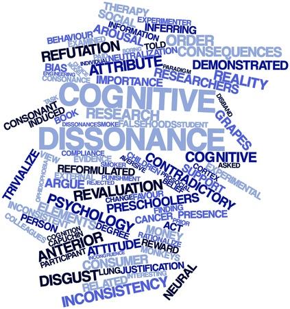 paradigma: Nube palabra abstracta para disonancia cognitiva con las etiquetas y t�rminos relacionados Foto de archivo