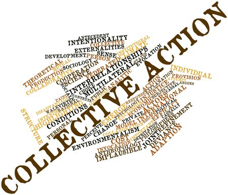 causation: Abstract word cloud for Collective action with related tags and terms Stock Photo