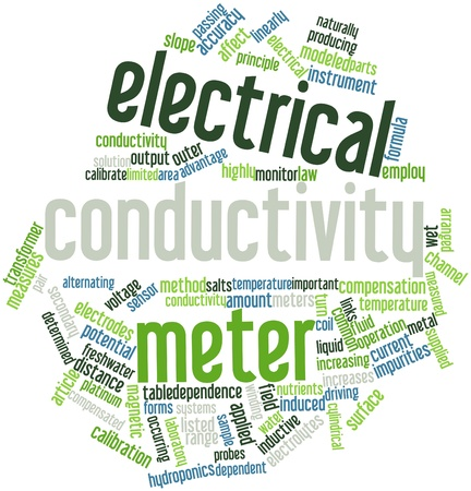 calibration: Abstract word cloud for Electrical conductivity meter with related tags and terms
