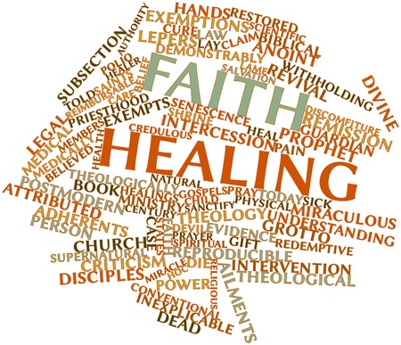 discomfiture: Abstract word cloud for Faith healing with related tags and terms