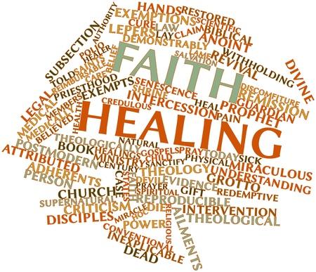 remission: Word cloud astratto per la guarigione Fede con tag correlati e termini