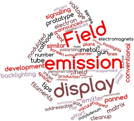 halted: Abstract word cloud for Field emission display with related tags and terms Stock Photo