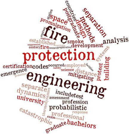 sprinkler: Abstract word cloud for Fire protection engineering with related tags and terms