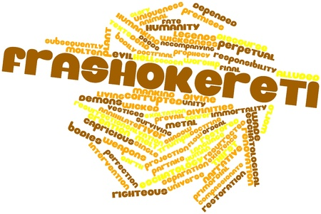 restored: Abstract word cloud for Frashokereti with related tags and terms Stock Photo