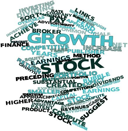identifies: Abstract word cloud for Growth stock with related tags and terms Stock Photo