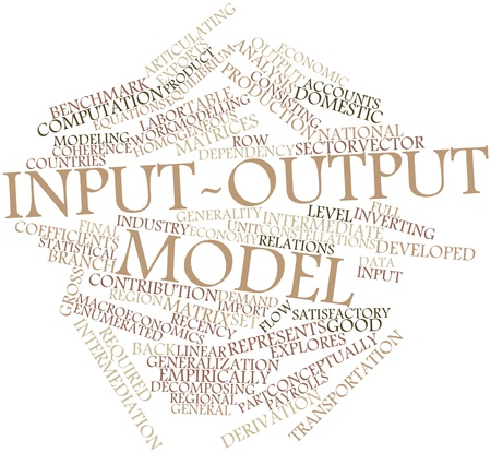 forerunner: Abstract word cloud for Input-output model with related tags and terms